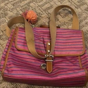 Fossil pink striped crossbody bag used